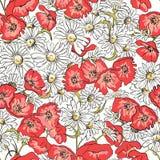 Ausgezeichnetes nahtloses Muster mit Mohnblumen Lizenzfreies Stockfoto