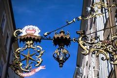 Ausgezeichnetes Shopzeichen Sternbrau in Salzburg Stockfoto