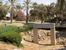 Aushöhlung, Tor von Zeiten des Pharaos Ramesses II Yaffo, Isr stockbilder