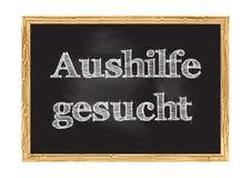 Aushilfe-gesucht - Assistent wünschte in der deutschen Tafelmitteilung Vektorillustration lizenzfreie stockbilder
