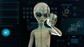 Ausländer drückt die Tasten auf Sciencefictionshologrammschirm Realistischer Bewegungshintergrund 4K stock abbildung