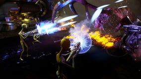Ausländer gegen Spinneneindringling Drastisches super realistisches Konzept Animation der nahtlosen Schleife stock abbildung