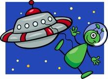 Ausländer mit UFO-Karikaturillustration Stockfoto