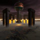 Ausländer UFO-Lieferung in futuristischem Stockfoto