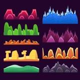 Ausländische Berge und bunte Wüste, die nahtlose Hintergrund-Muster für 2D Platformer-Spiel-Design landschaftlich gestaltet lizenzfreie abbildung