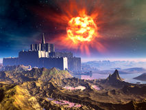 Ausländische Schloss-Festung unter einem explodierenden Sun vektor abbildung