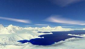 Ausländischer Planet Berg und Wasser Wiedergabe 3d Stockbilder