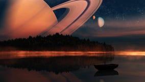 Ausländischer Planet - 3d übertrug Computergrafik Lizenzfreies Stockfoto
