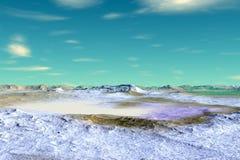 Ausländischer Planet Felsen und Himmel Wiedergabe 3d Stockbilder