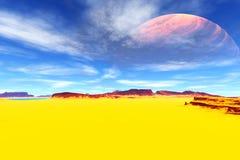 Ausländischer Planet Felsen und Himmel Wiedergabe 3d Lizenzfreie Stockfotografie