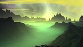 Ausländischer Planet Felsen und Himmel Wiedergabe 3d Lizenzfreies Stockfoto