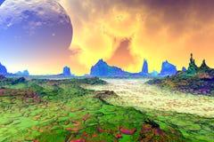 Ausländischer Planet Felsen und Himmel Wiedergabe 3d Lizenzfreie Stockbilder