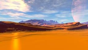 Ausländischer Planet Felsen und Himmel Wiedergabe 3d Stockbild