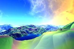 Ausländischer Planet Felsen und See Wiedergabe 3d Lizenzfreie Stockbilder