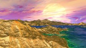 Ausländischer Planet Felsen und See Wiedergabe 3d Stockfotos