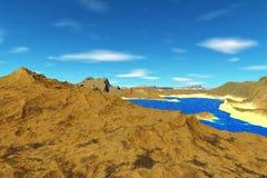 Ausländischer Planet Felsen und See Wiedergabe 3d Lizenzfreie Stockfotos