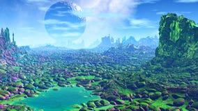 Ausländischer Planet Felsen und See Wiedergabe 3d Stockbilder