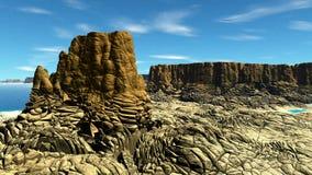 Ausländischer Planet Felsen und See Wiedergabe 3d Lizenzfreies Stockbild
