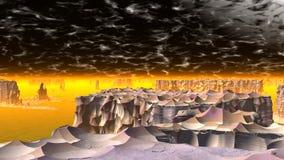 Ausländischer Planet Felsen und See Wiedergabe 3d Stockbild