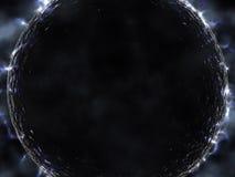 Ausländischer schwarzer Planet mit glüht Stockfoto