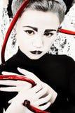 Ausländisches Mädchen-Kind mit den Blut-Gefäßen angebracht stockbild