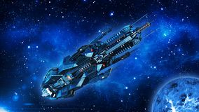Ausländisches Mutterschiff, Raumschiff im Weltraum-, UFO-Raumfahrzeugfliegen im Universum mit Planeten und in den Sternen, Ansich vektor abbildung