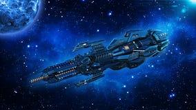 Ausländisches Mutterschiff, Raumschiff im Weltraum-, UFO-Raumfahrzeugfliegen im Universum mit Planeten und in den Sternen, 3D übe lizenzfreie abbildung