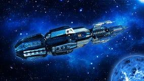 Ausländisches Mutterschiff, Raumschiff im Weltraum-, UFO-Raumfahrzeugfliegen im Universum mit Planeten und in den Sternen, Draufs stock abbildung