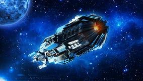 Ausländisches Mutterschiff, Raumschiff im Weltraum-, UFO-Raumfahrzeugfliegen im Universum mit Planeten und in den Sternen, hinter lizenzfreie abbildung