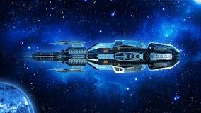Ausländisches Mutterschiff, Raumschiff im Weltraum-, UFO-Raumfahrzeugfliegen im Universum mit Planeten und in den Sternen, Seiten lizenzfreie stockfotografie