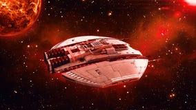 Ausländisches Raumschiff im Weltraum-, UFO-Raumfahrzeugfliegen im Universum mit Planeten und in den Sternen im Hintergrund, Drauf lizenzfreie abbildung