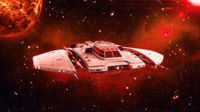 Ausländisches Raumschiff im Weltraum-, UFO-Raumfahrzeugfliegen im Universum mit Planeten und in den Sternen im Hintergrund, Vorde lizenzfreie abbildung