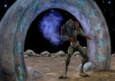 Ausländisches Reptilianmonster, das von einem Portal herauskommt Abbildung 3D Stockfotos