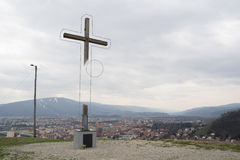 Auslöschung des christlichen Kreuzes stockbild