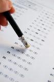 Auslöschung von Antwort auf Prüfung Stockfoto