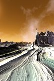 Ausl?ndischer Planet Berg Wiedergabe 3d lizenzfreie stockfotos