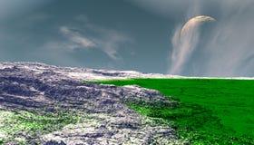 Ausl?ndischer Planet Berg Wiedergabe 3d lizenzfreie stockbilder