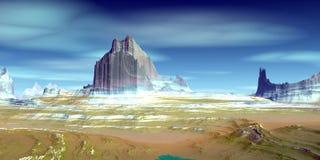Ausl?ndischer Planet Berg Wiedergabe 3d stockfotografie