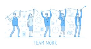 Auslagerungsteam Geschäftsmann, Frauenteam, Unternehmer mit Wachstumstabelle und Führer Flache blaue Farblinie des Wohlstandes lizenzfreie abbildung