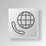 Auslandsgespräch 3D Knopf-Ikonen-Konzept Stockfotos