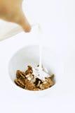 Auslaufende Milch in eine Schüssel mit Corn-Flakes lizenzfreies stockfoto