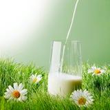 Auslaufende Milch in einem Glas Stockbild