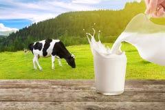 Auslaufende Milch mit spritzt lizenzfreies stockbild