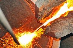 Auslaufender flüssiger Stahl Lizenzfreie Stockfotografie