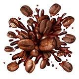 Auslaufender Kaffee auf dem weißen Hintergrund Stockfotografie