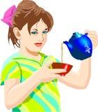 Auslaufender Tee des Mädchens Stockfoto