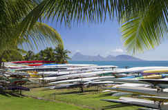 Auslegerkanus in Jardins de Paofai, Pape'ete, Tahiti, Französisch-Polynesien Stockfotos