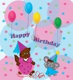 Auslegung einer Karte auf Geburtstag. Lizenzfreie Stockfotos