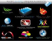 Auslegung-Element-Ansammlung mit bunter glänzender Ikone Stockbilder