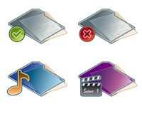 Auslegung-Elemente 45a. Faltblatt-Ikonen-Set lizenzfreie abbildung
